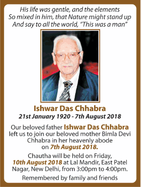 Chautha Ishwar Das Chhabra Ad