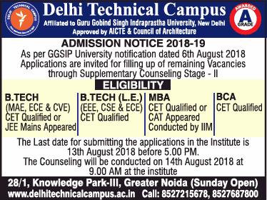 Delhi Technical Campus Admission Noitice 2018 19 Ad