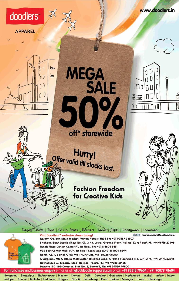Doodlers Apparel Mega Sale 50% Off Ad