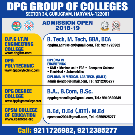 Dpg Group Of Collegs Admission Open 2018 19 Ad