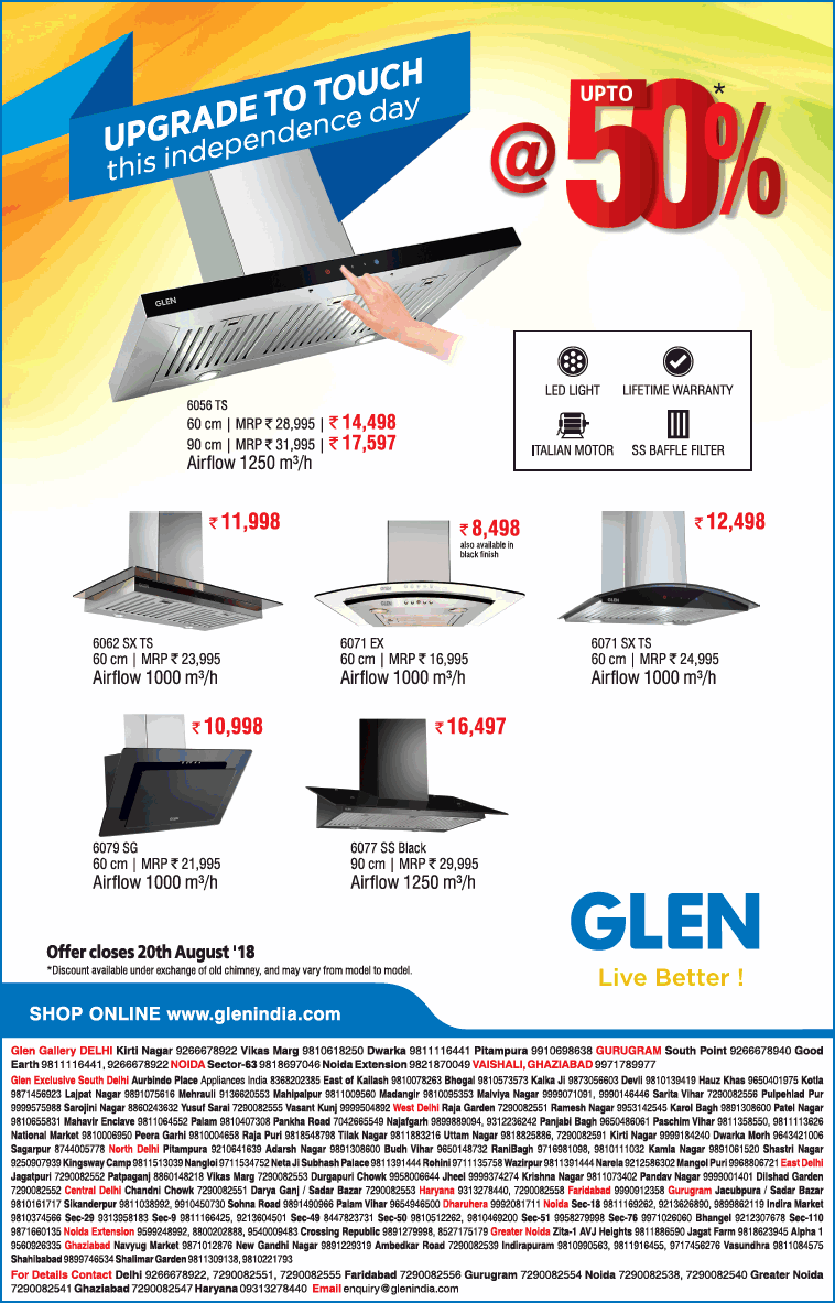 Glen Live Better Upgrade To Touch This Independence Day At Upto 50% Ad