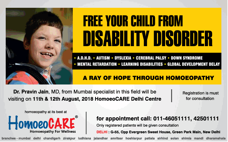Homoeocare Free Your Child From Disability Disorder Ad