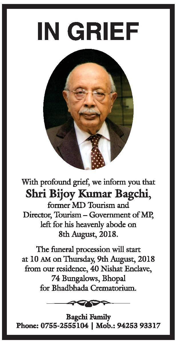 In Grief Shri Bijoy Kumar Bagchi Ad
