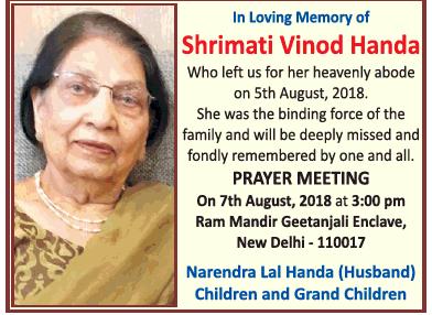 In Loving Memory Of Shrimati Vinod Handa Ad