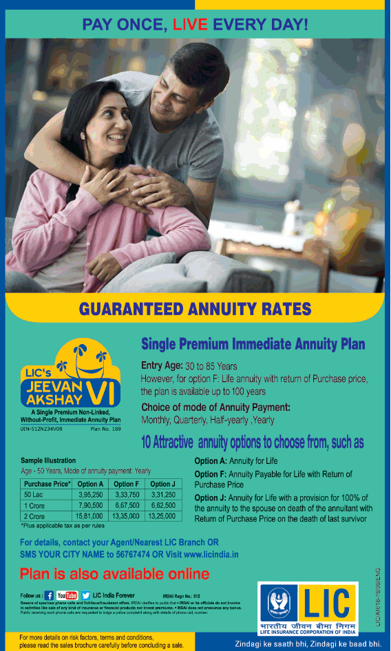 Lic Pay Once Live Every Day Ad