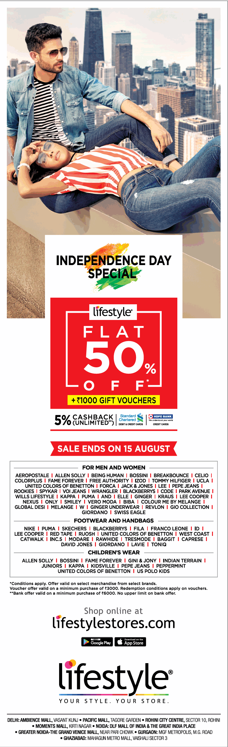 Lifestyle Independence Day Special Flat 50% Off Ad