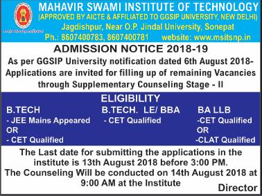 Mahavir Swami Institute Of Technology Admission Notice Ad