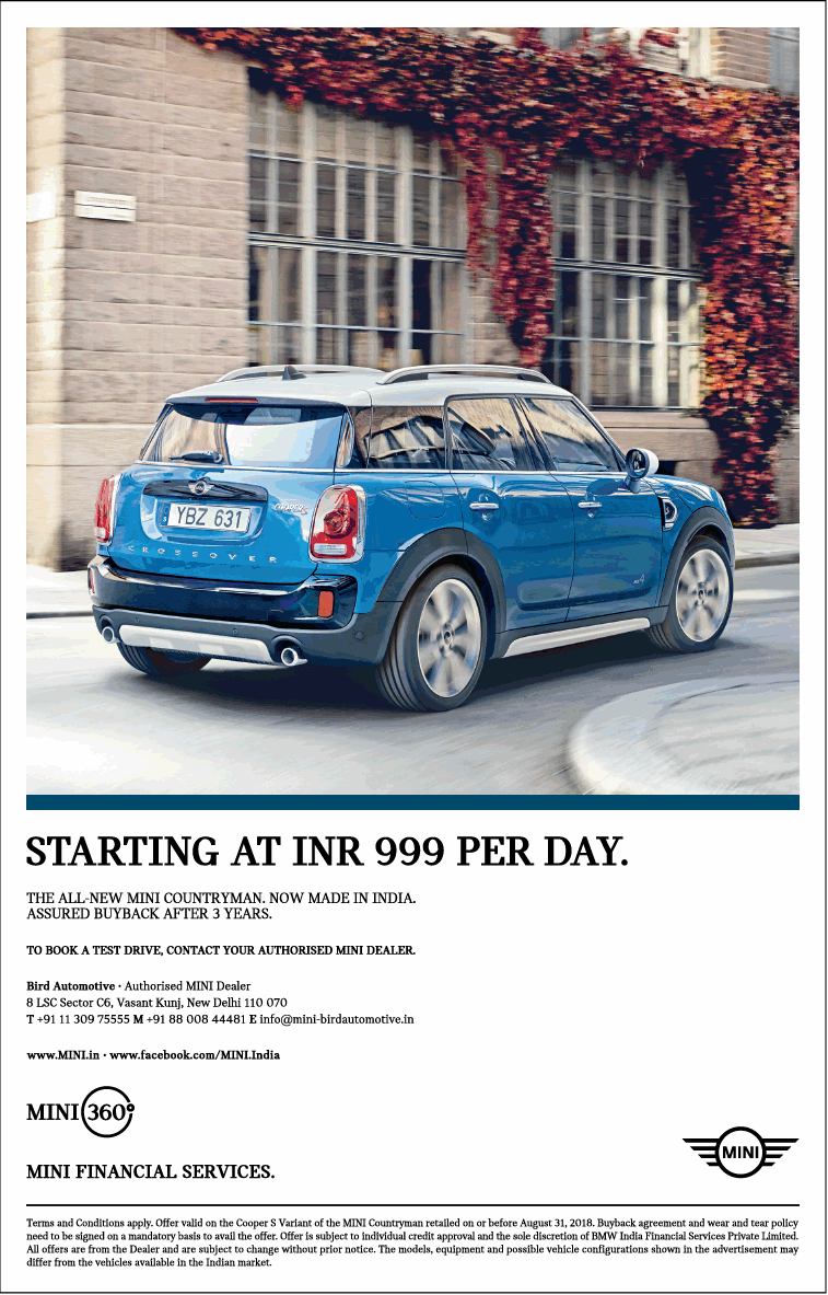 Mini Financial Services Starting At Inr 999 Per Day Ad