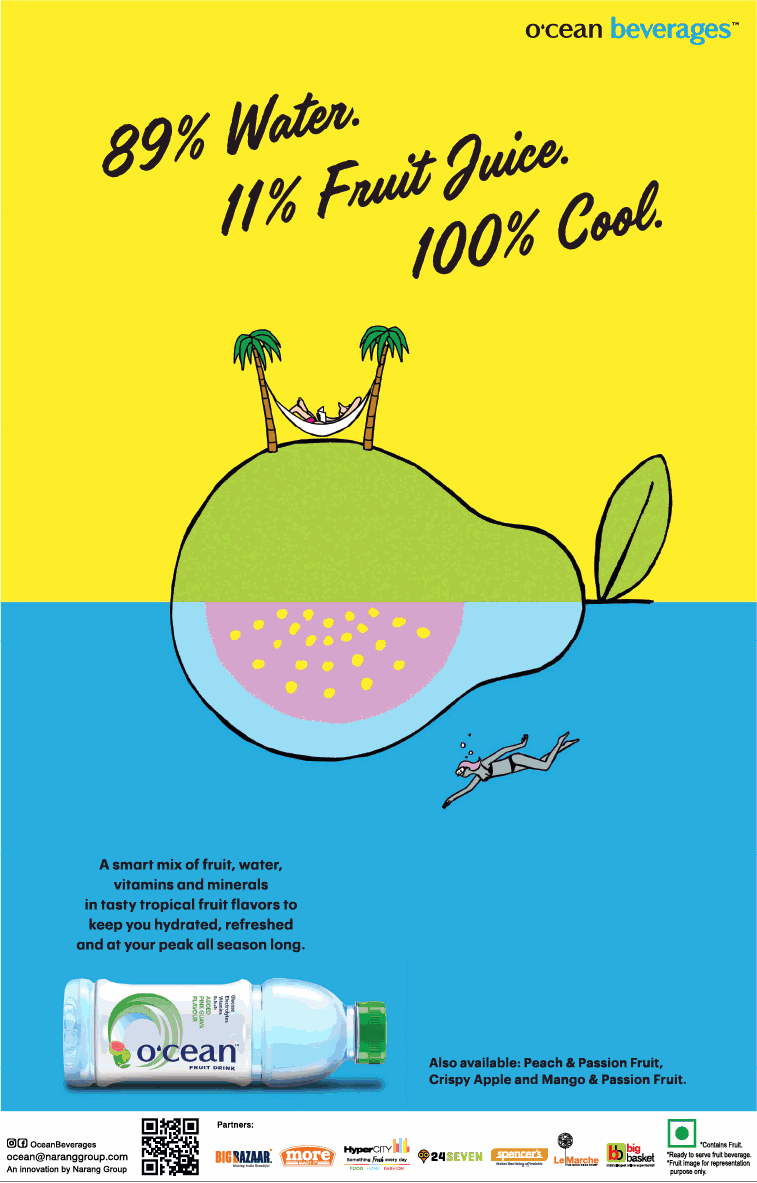 Ocean Beverages 89% Water 11% Fruit Juice 100% Cool Ad