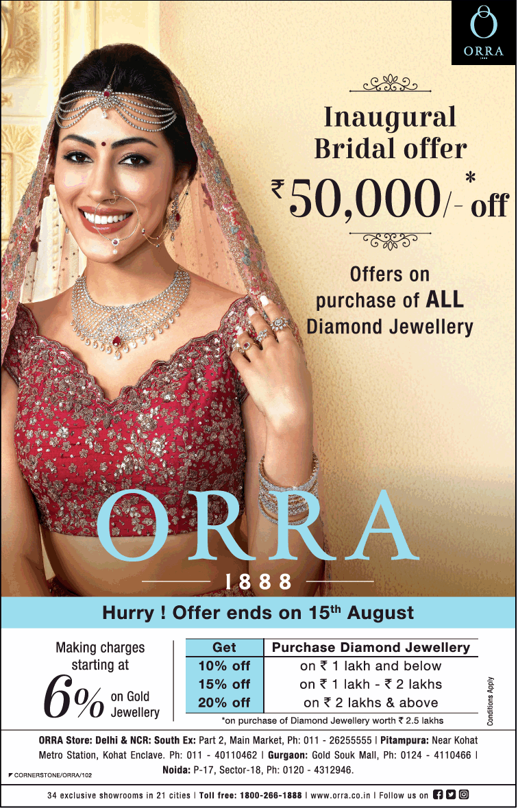 Orra Inaugural Bridal Offer Rupees 50000 Off Ad