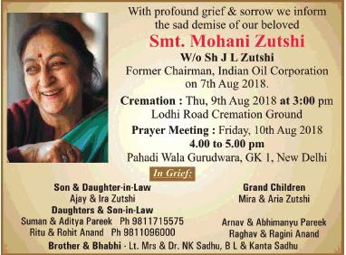 Sad Demise Smt Mohani Zutshi Ad