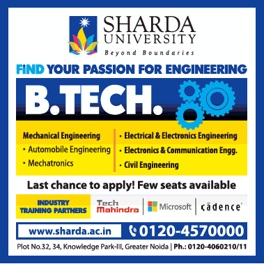 Sharda University Find Your Pssion For Engineering Ad