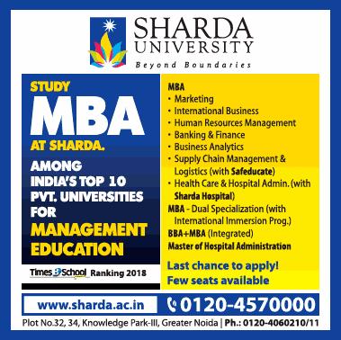 Sharda University Study Mba At Sharda Ad
