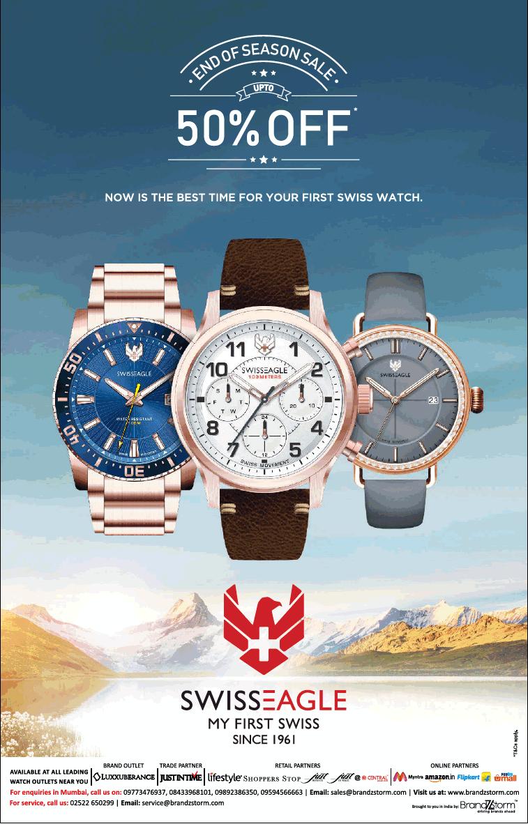 Swiss Eagle End Of Season Sale 50% Off Ad