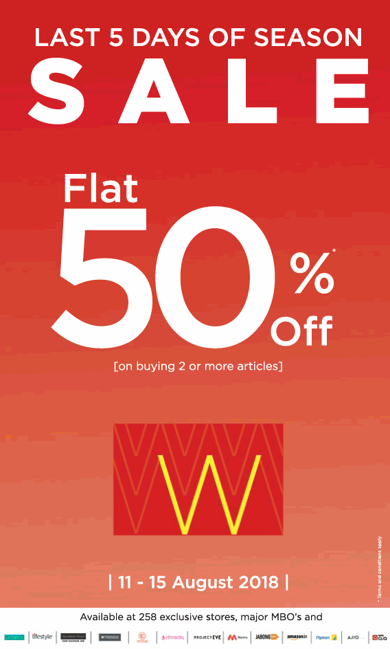 W Last 5 Days Of Season Sale Flat 50% Off Ad