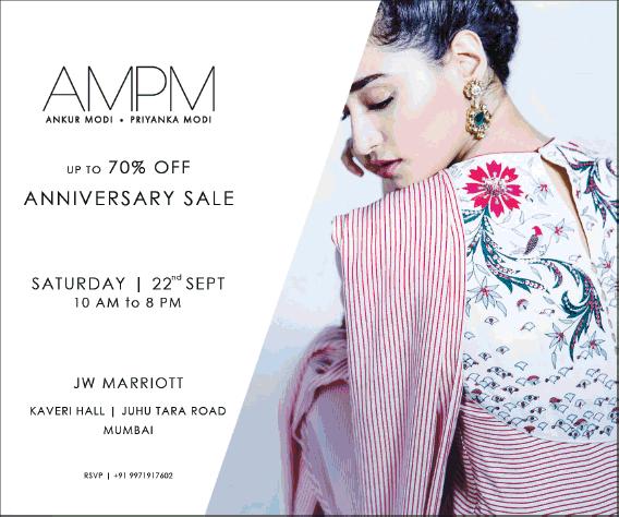 Ankur Modi Priyanka Modi Boutique Anniversary Sale Upto 70% Off Ad