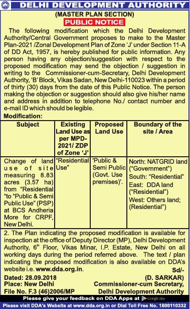 Delhi Development Authority Public Notice Ad