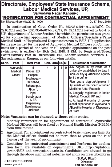 Directorate Employees State Insurance Scheme Appointment Ad