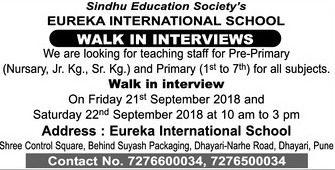 Eureka International School Walk In Interview Ad