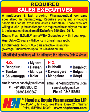 Hegde And Hegde Pharmaceutica Llp Required Sales Executives Ad