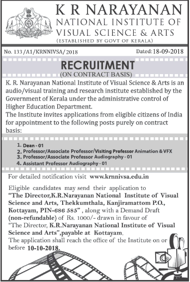 K R Naraynan National Institute Of Visual Science And Arts Recruitment Ad