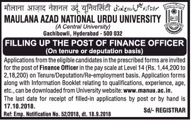 Maulana Azad National Urdu University Filling Up Post Of Finance Officer Ad