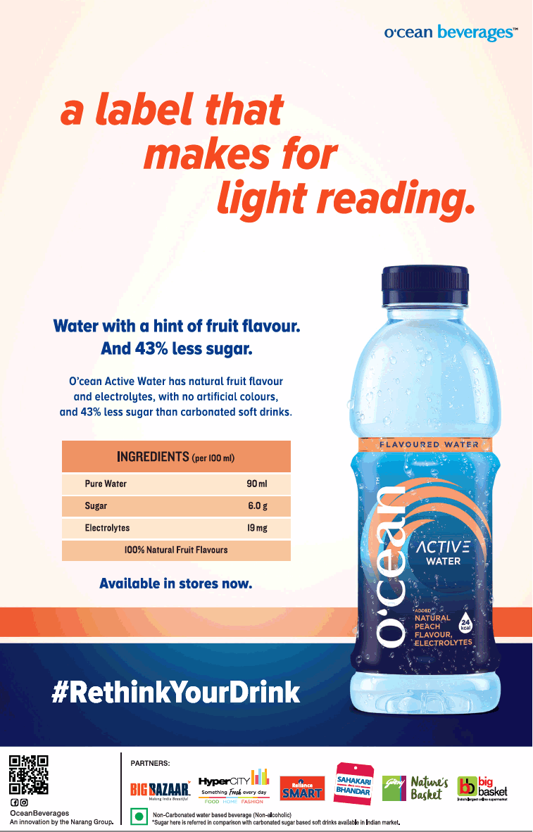 Ocean Beverages Water With Ahint Of Fruit Flavour Ad