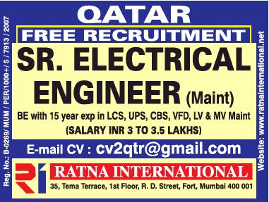 Ratna International Free Recruitment Sr Electrical Engineer Ad