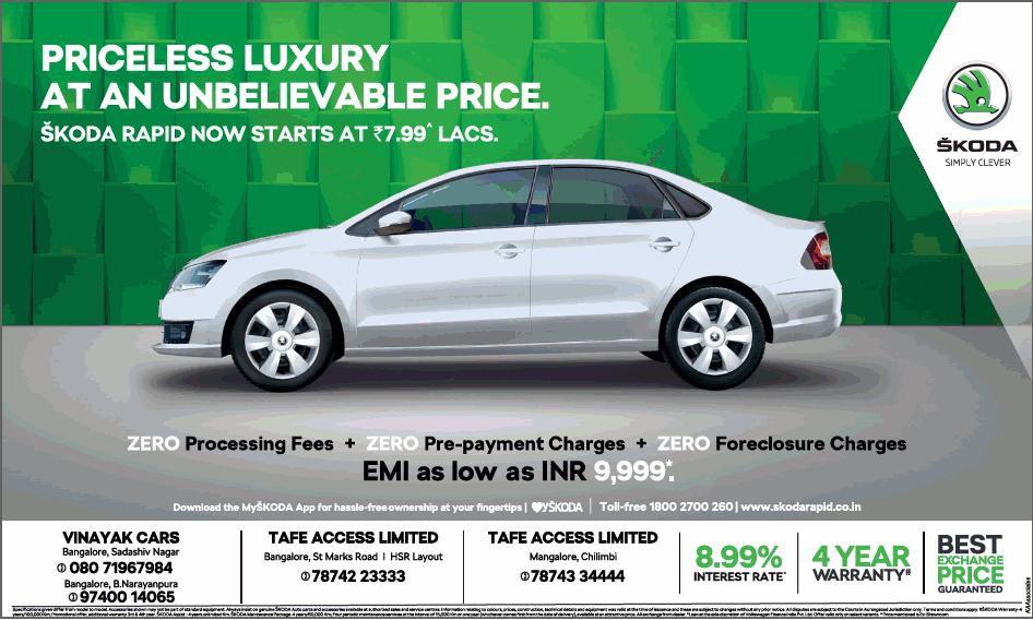 Skoda Cars Pricess Luxury Emi As Low As Inr 9999 Ad Advert Gallery