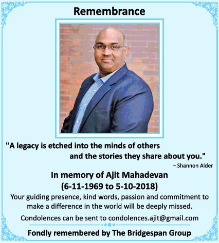 Ajit Mahadevan Obituary Ad - Advert Gallery