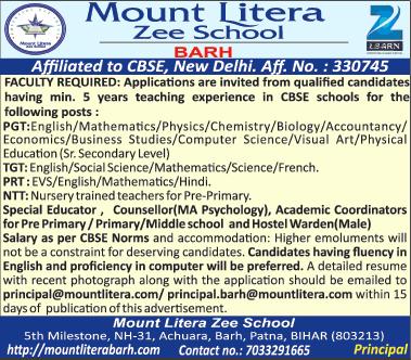 Mount Litera Zee School Barh Faculty Required Ad Advert Gallery