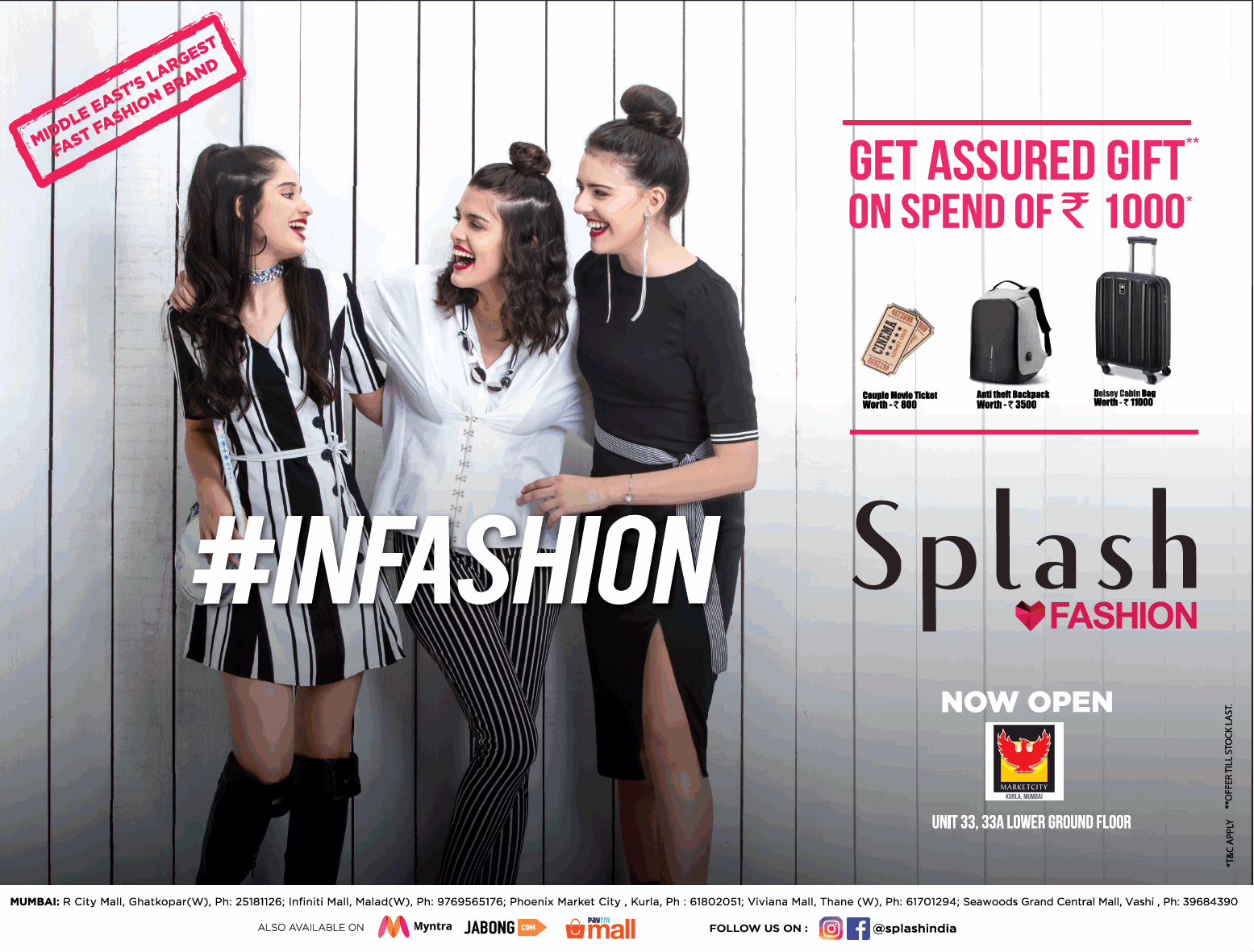 Spalsh Fashion Get Assured Gift On Spend Of Rs 1000 Ad Advert Gallery