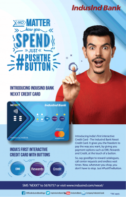 Indusind Bank Introducing Nexxt Credit Card Ad in Times of India Delhi