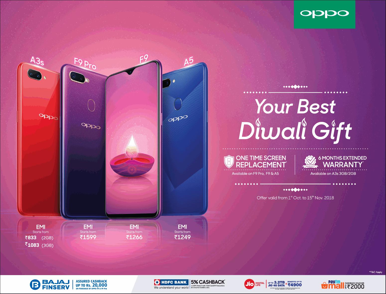 Oppo Phones Your Best Diwali Gift Ad - Advert Gallery