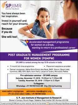 S.P. Jain Institute of Management & Research (spjimr) Bharatiya Vidya Bhavan Post Graduate Management Programme for Women Ad in Bombay Times