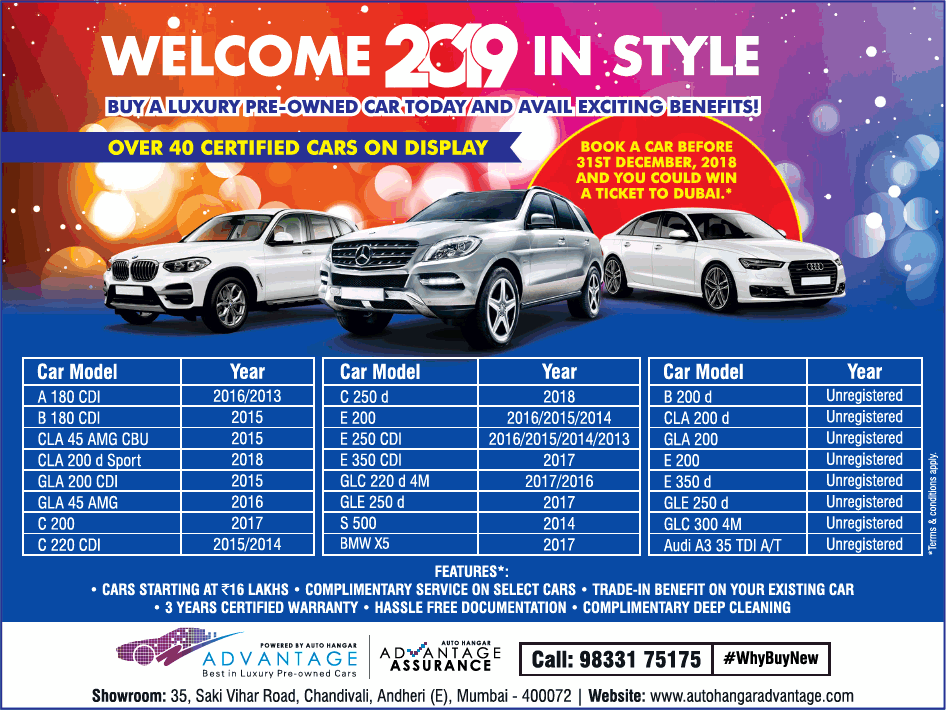 Advantage Best In Luxury Pre Owned Cars Welcome 2019 In Style Ad Advert Gallery