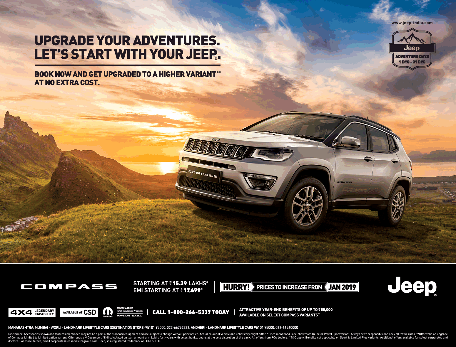 Jeep Car Compass Upgrade Your Adventures Ad In Times Of India Mumbai