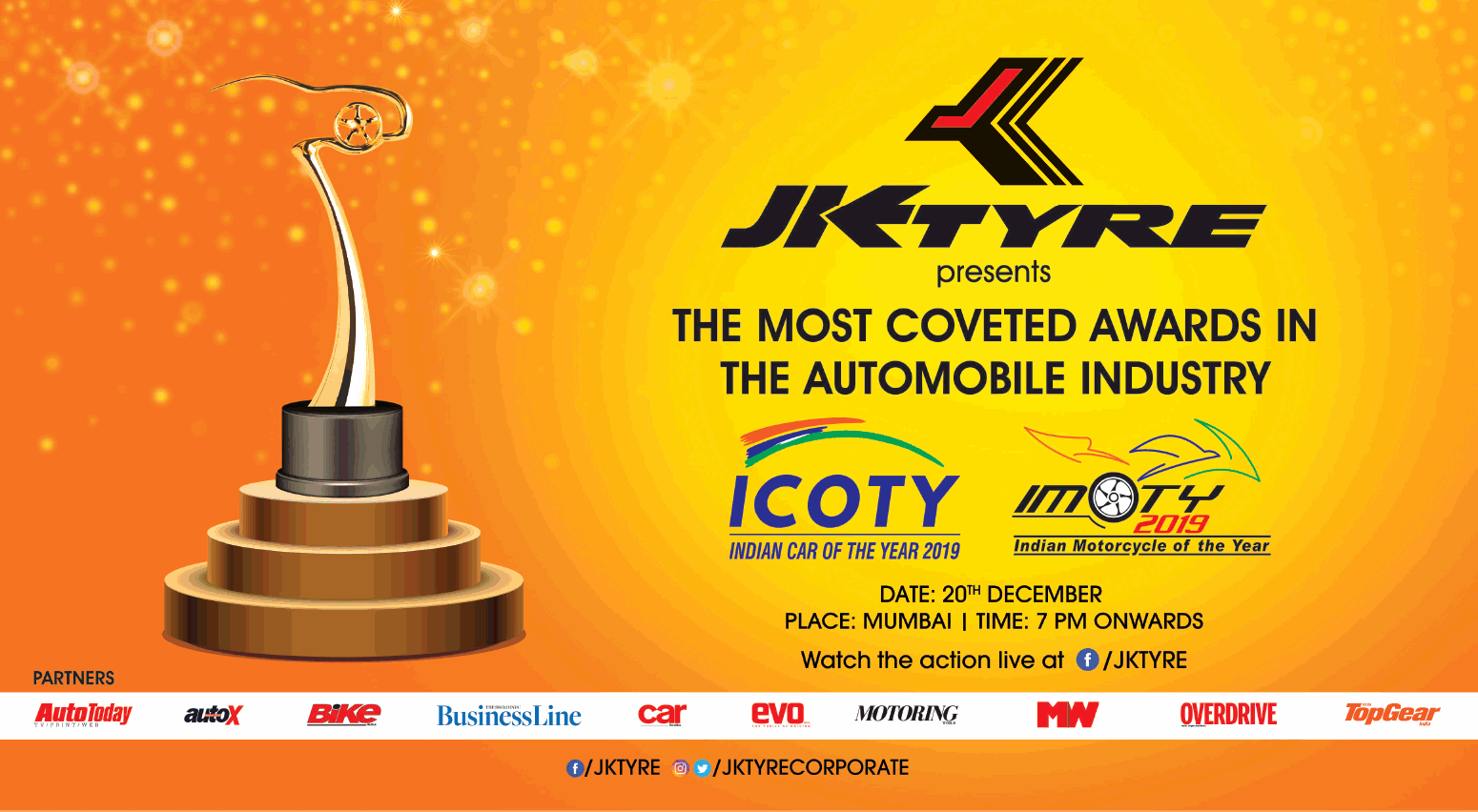 351b91fdc4b514 Jk Tyre Presents Most Coveted Awards Iin Automobile Industry Ad in TOI  Mumbai