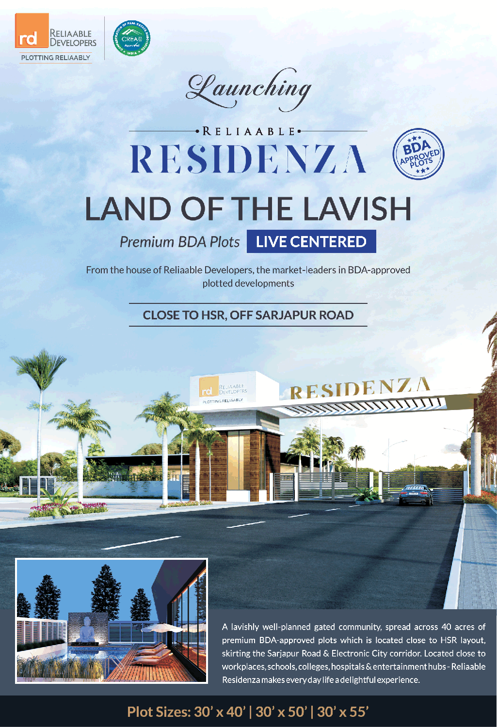 625995166f51 Reliable Developers Residenza Bda Approved Plots Ad in Times of India  Bangalore